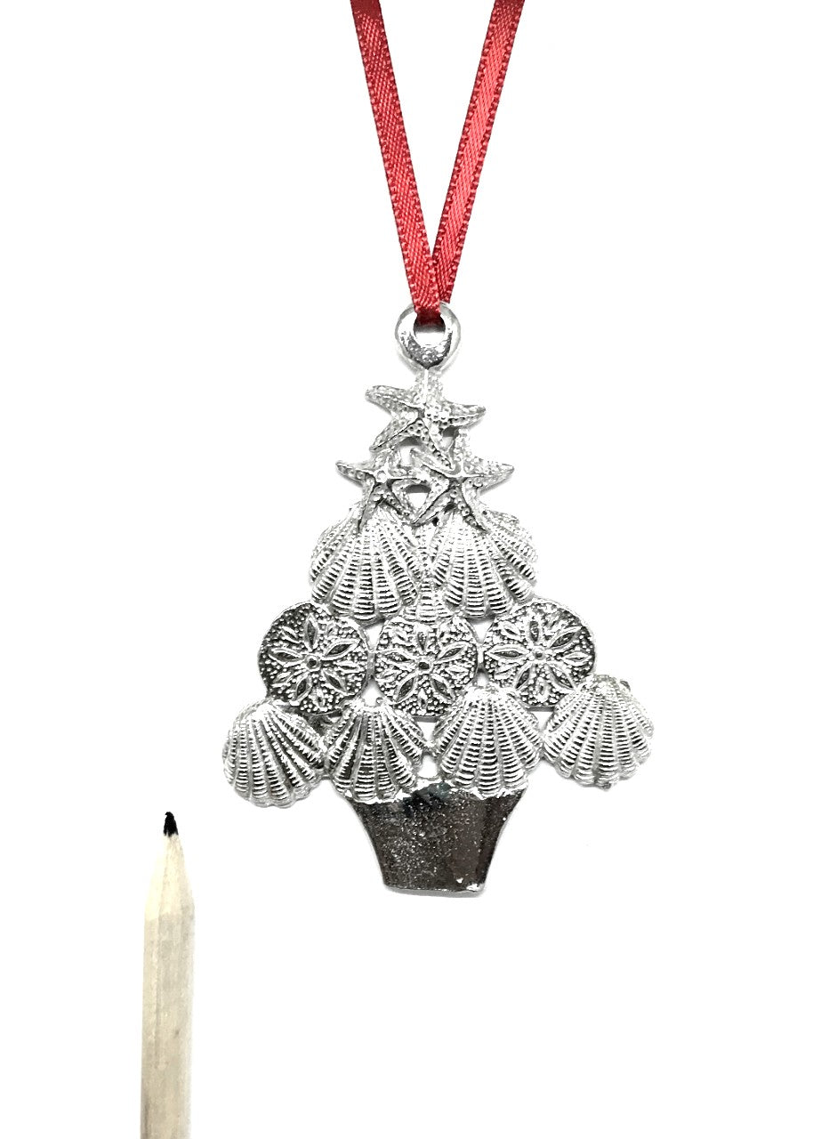 Seashell Christmas Tree Beachy Shell Holiday Ornament Pewter - House of Morgan Pewter