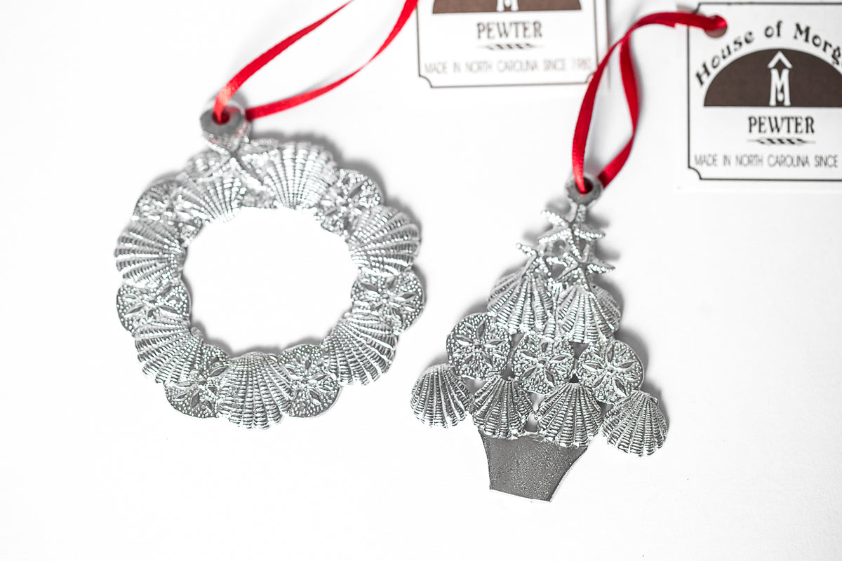 USA Handcrafted Seashell Christmas Tree Wreath Ornament Pewter Beach Lover Gift Set