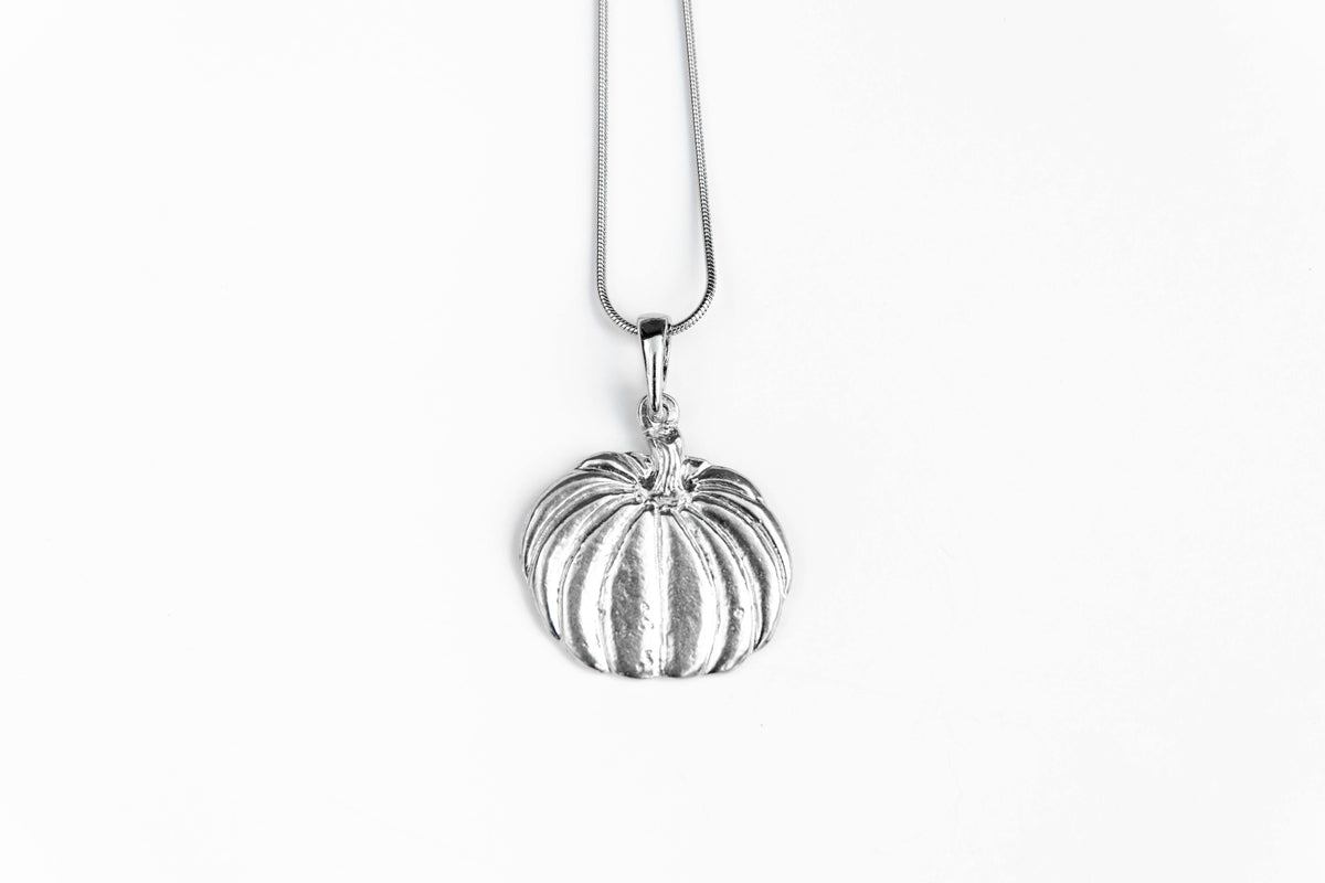 handmade pewter pumpkin pendant and necklace
