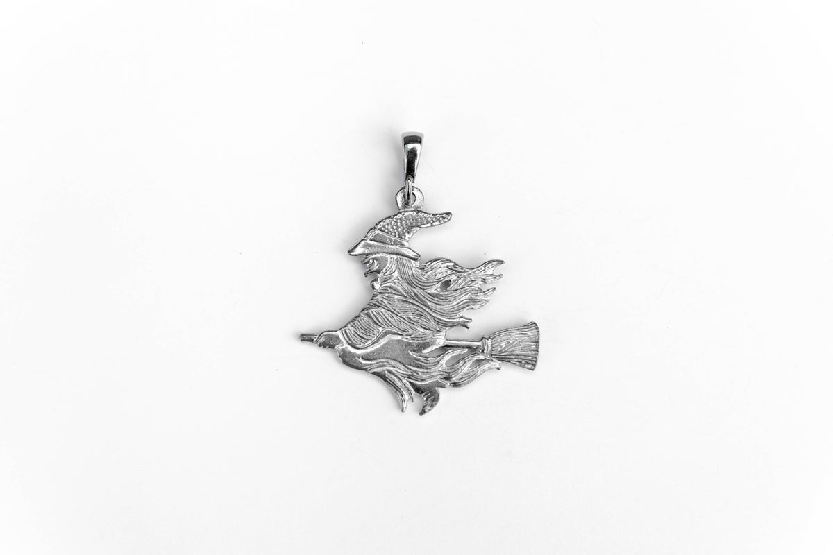 USA Handcrafted Small Witch on Broom Fall Halloween Jewelry Accessories Pendant Charm Necklace Pewter