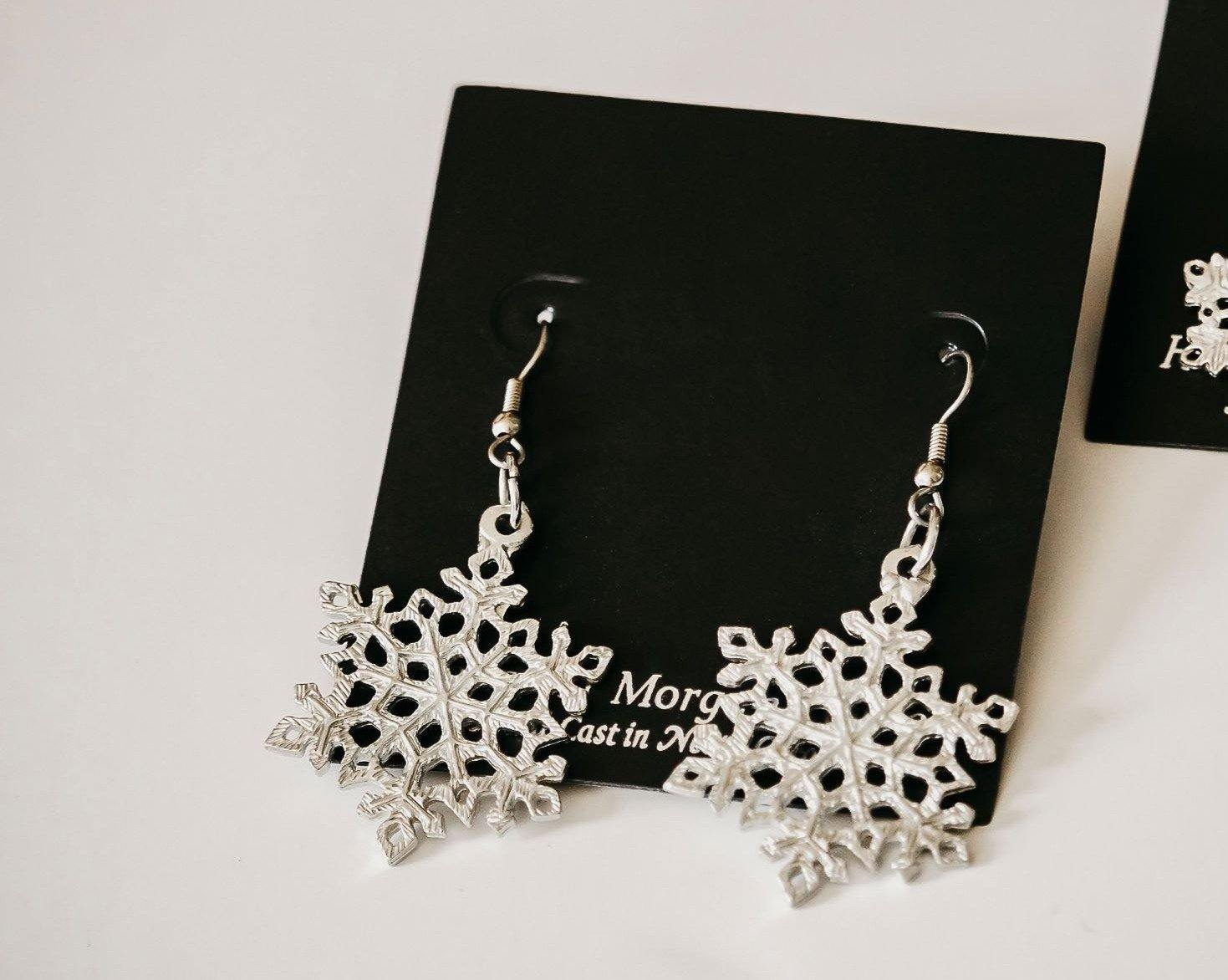 handmade pewter snowflake earrings