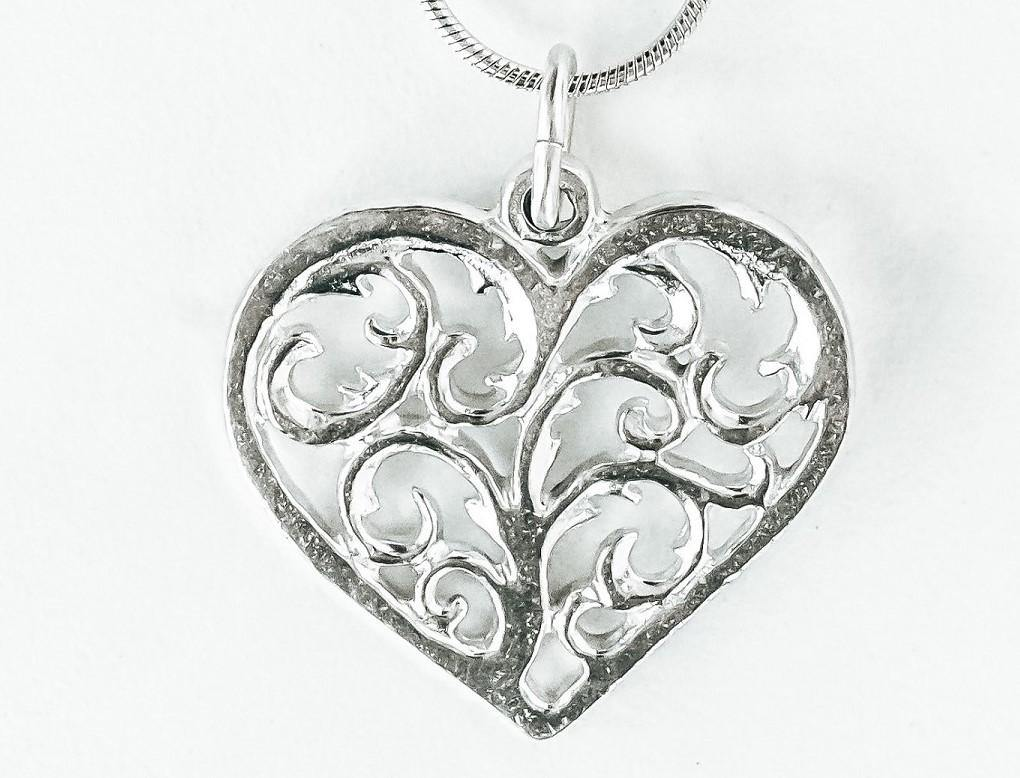 Handmade Pewter Pendant Necklace- Swirly Heart