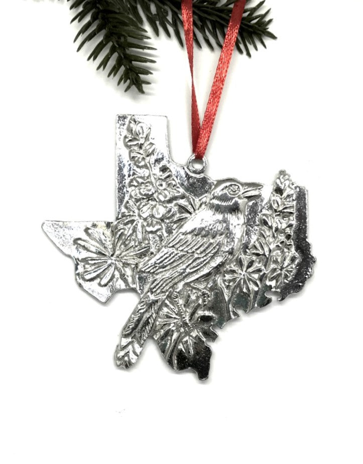 Texas TX Christmas Holiday Ornament Keepsake Pewter - House of Morgan Pewter