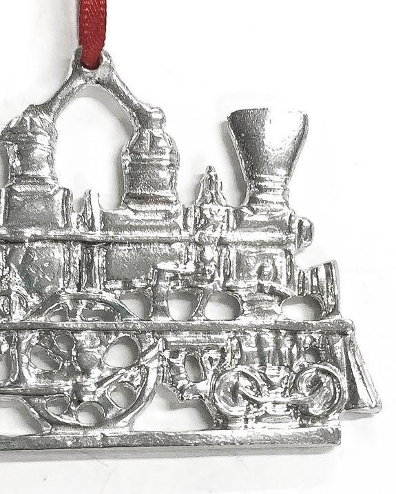 Handmade Old Timey Train Christmas Ornament Pewter
