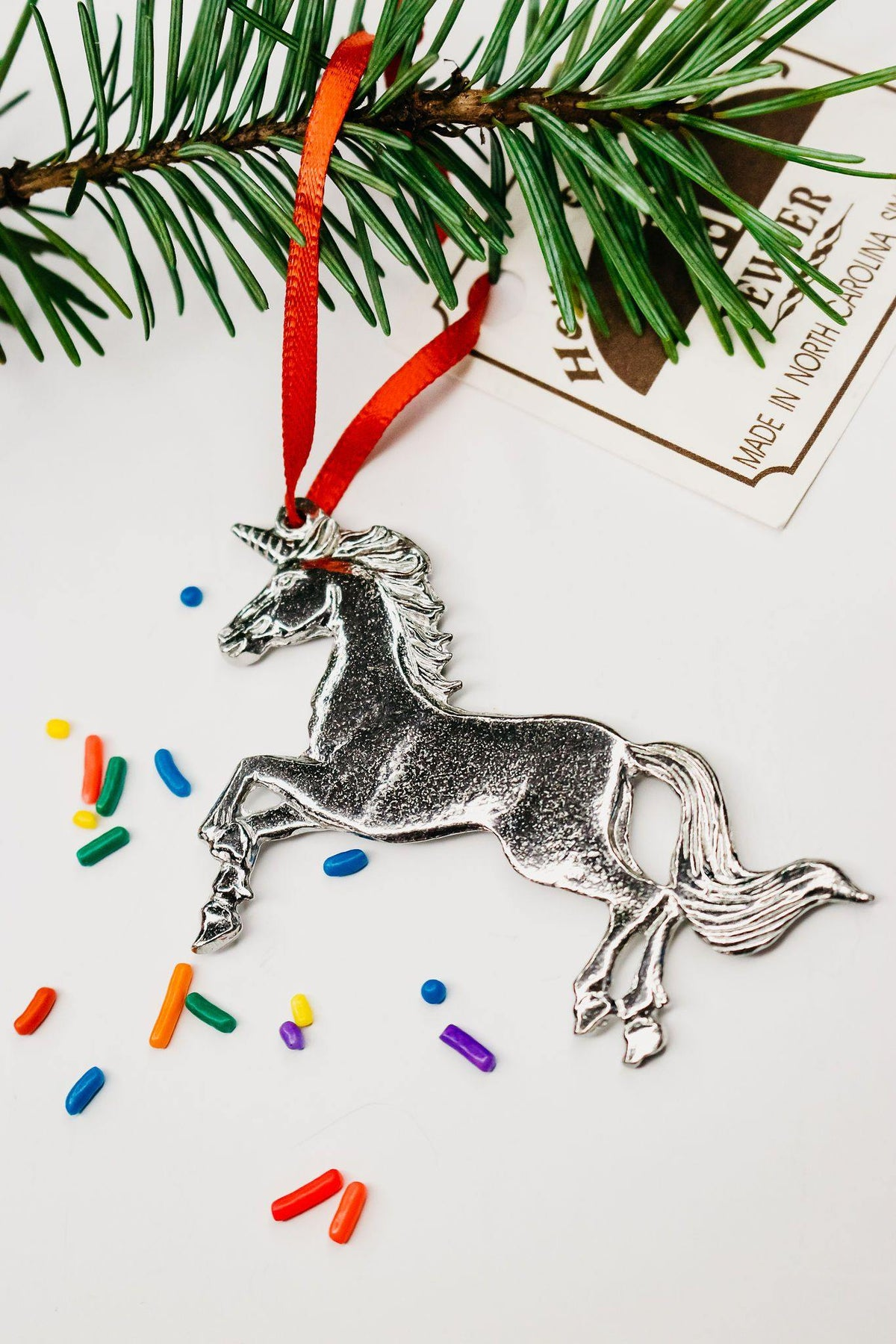 Handmade Unicorn Keepsake Holiday Christmas Ornament Pewter