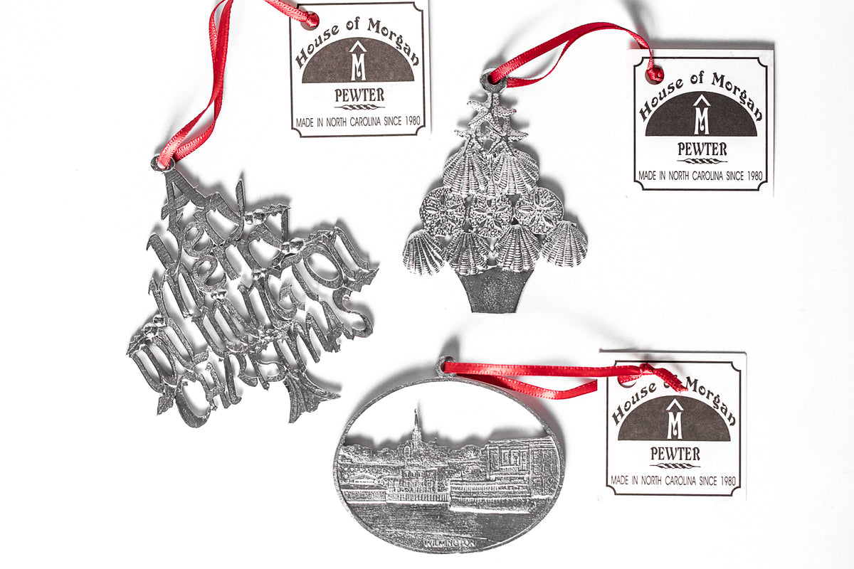 USA Handcrafted Wilmington ILM Holiday Keepsake Christmas Ornament Pewter Gift Set