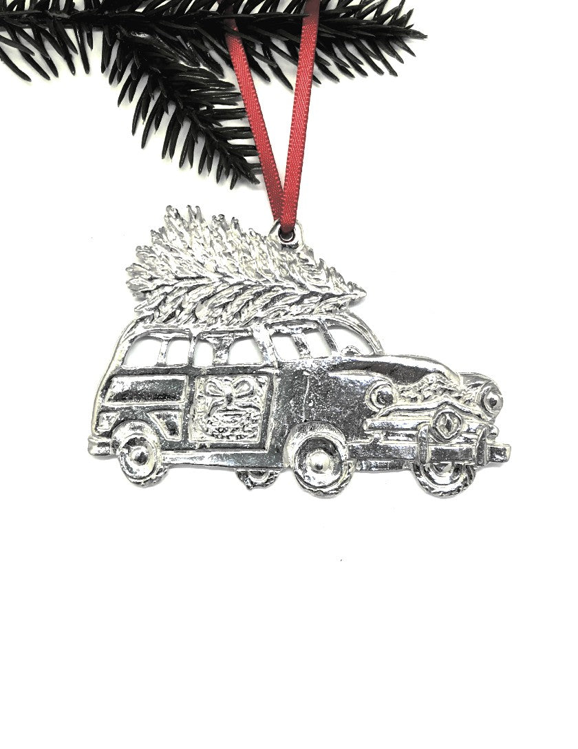 Woodie Wagon Christmas Tree Winter Wonderland Christmas Holiday Ornament Pewter - House of Morgan Pewter