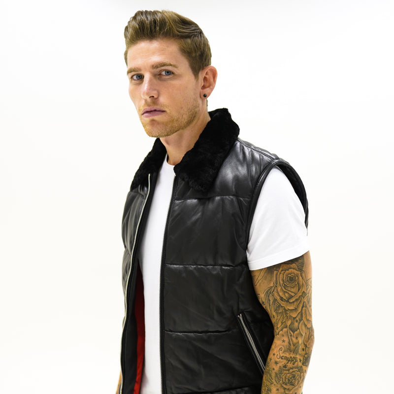 Vanquish Leather Gilet  - Black - CAMOKAZI