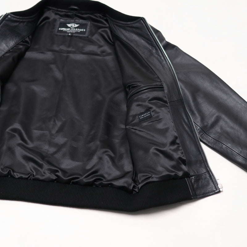 Victory Leather Bomber Jacket Mens - Black