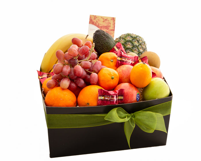 Fresh Fruit Gift Hamper from Apex Gifts with a sprinkle of chocolate and fudge bites