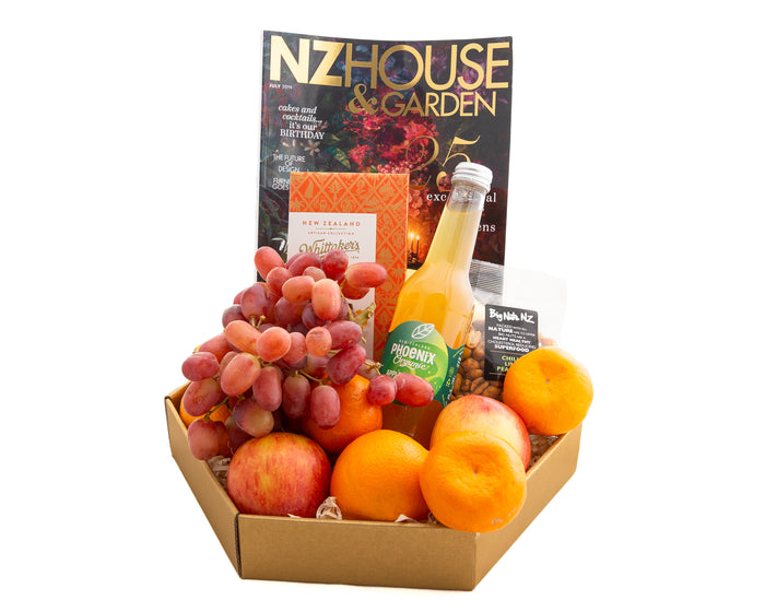 Great Hospital Gift box with fresh fruit, and a magazine to pass the time. Great for man or woman