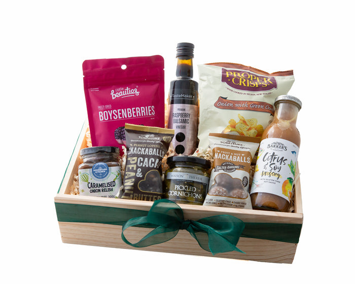 A Gluten Free Gift Box with Entertainment and Condiments packed in a Wooden Gift box