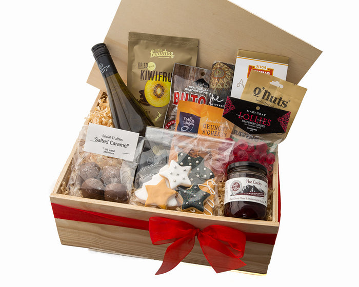 These delicious NZ made products from small businesses make this awesome Kiwi Christmas Hamper. Ideal Client or Staff gift Thank you.