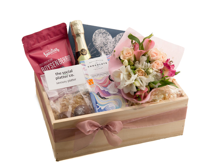 Love You Mum Gift Hamper | Gift with Flowers and Gourmet Foods