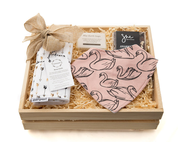 A Treats gift for the new baby and parents in a keepsake wooden gift box.