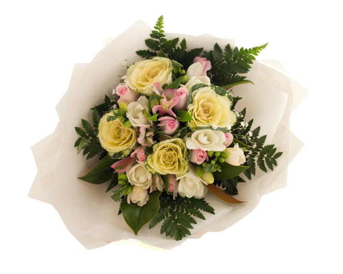 Soft pastel coloured flowers for birthday, thinking of you, for women.