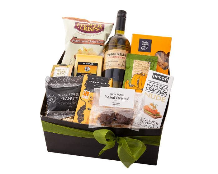 Artisan gourmet foods with a New Zealand wine makes the ideal thank you corporate gift