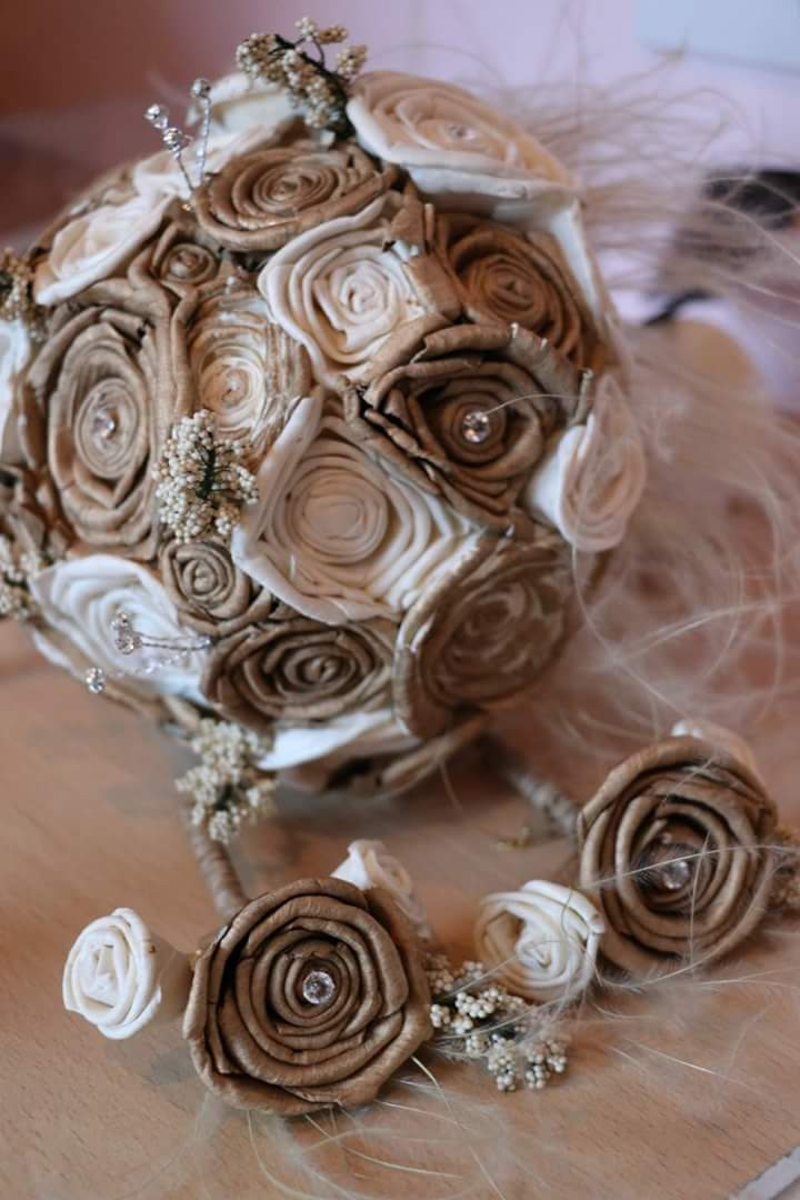 Ivory and Gold Vintage Themed Keepsake Altrnative Bouquet