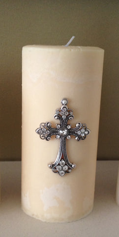 Handmade Fragranced Pillar Candle with Silver Cross and Sparkle Embellishment.