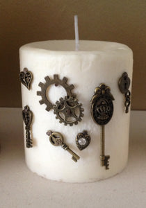 Handmade Fragranced Pillar Candle with Steampunk Inspired Embellishments.