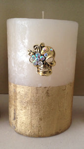 Rock Inspired Skulls Head Pillar Candle