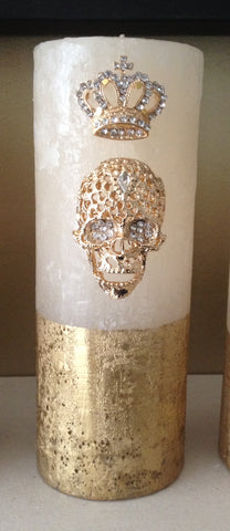 Gold Diamante Skulls Head and Crown Embellished Pillar Candle