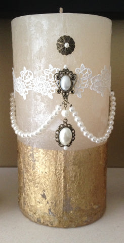 Vintage Inspired Lace and Pearl Pillar Candle
