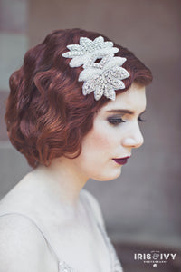 crystal and pearl beaded ornate appliqué 1920's inspired bridal headband hair accessory slide/comb