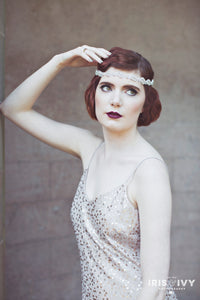 1920's inspired bridal hair accessory flapper headband with crystals and pearls