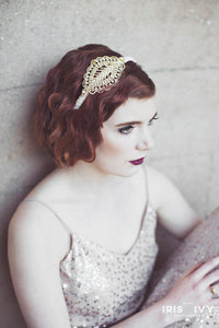 gold and crystal beaded ornate appliqué 1920's inspired bridal headband hair accessory