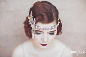 crystal and pearl ornate 1920's inspired bridal hair accessory