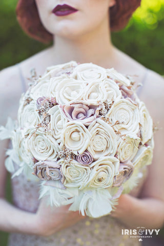 Lilac/blush pink and ivory romantic paper flower vintage inspired keepsake alternative bouquet