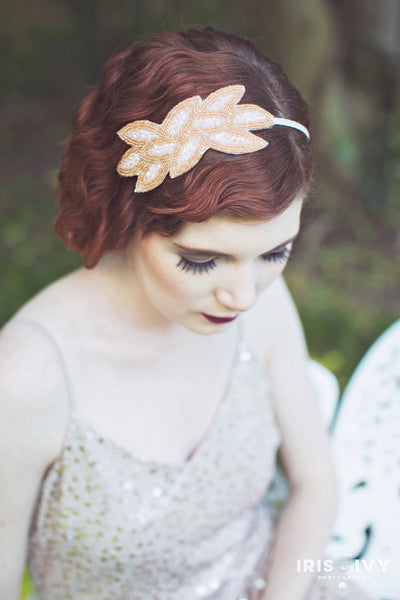 Ivory and gold beaded ornate leaf pattern 1920's inspired bridal headband hair accessory