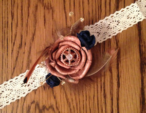 Steampunk copper and navy, cogs, maps, keys alternative keepsake wrist corsage.