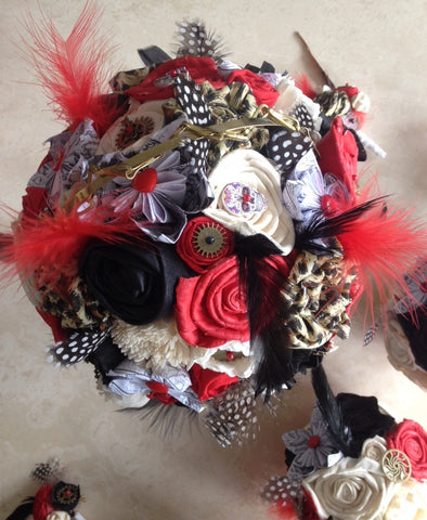 Red, black, Ivory and leopard print steampunk alternative keepsake bridal bouquet