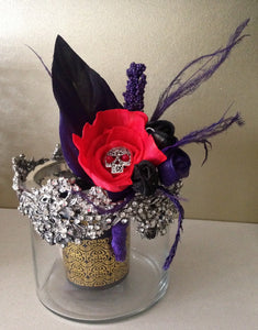 day of the dead Goth/Rock influenced alternative keepsake buttonhole