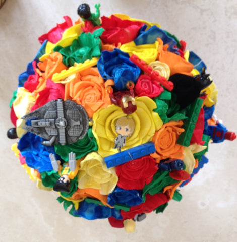 This Lego, super hero and Star Wars  inspired keepsake bouquet