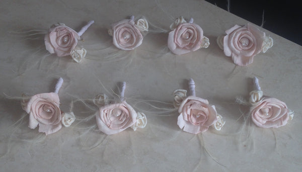 Soft pink and Ivory vintage styled alternative keepsake buttonhole