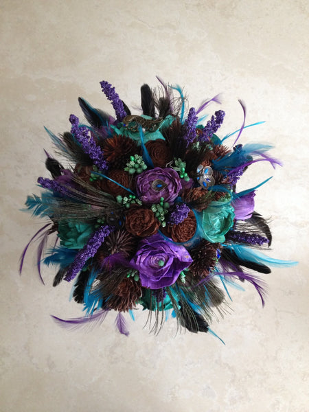 peacock inspired bridal keepsake alternative bouquet