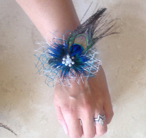 peacock inspired wrist corsage