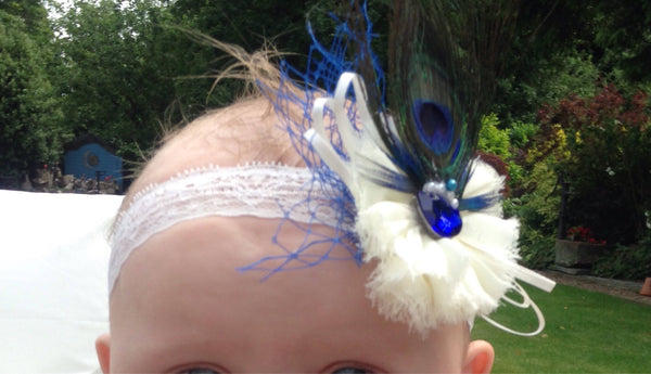 Babies/toddlers/flower girl peacock inspired lace headband