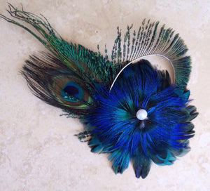 peacock inspired bridal hair slide