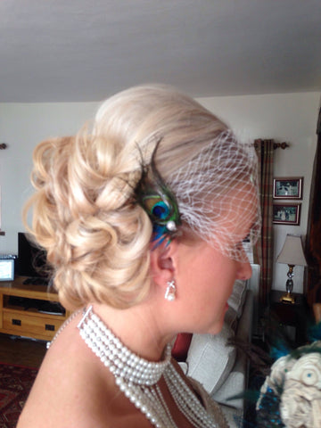 Russian netting/birdcage netting bridal peacock hair accessory