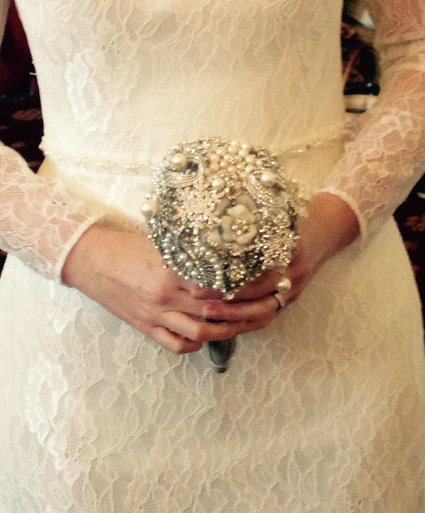 Pearl and crystal medium brooch alternative bouquet