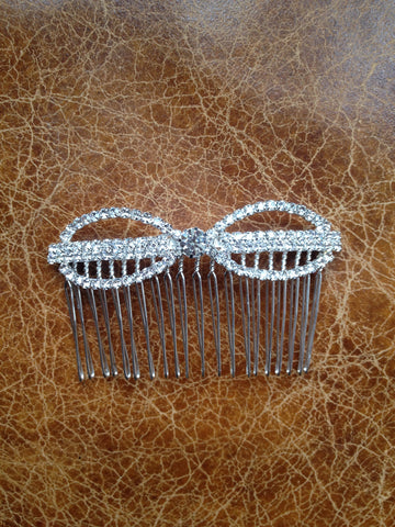 Bridal crystal bow shaped hair slide/comb