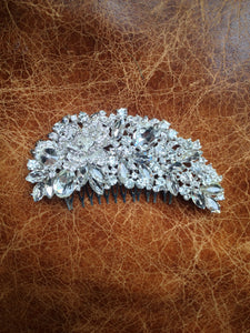 Large ornate crystal diamanté bridal hair slide/comb