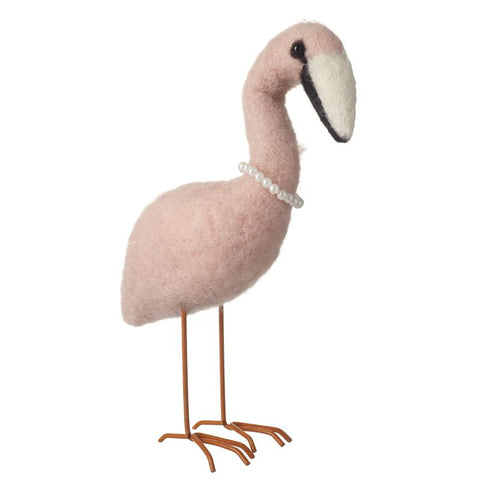 WOOL STANDING FLAMINGO DECORATION