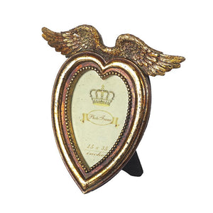 GOLD HEART FRAME WITH WINGS SMALL