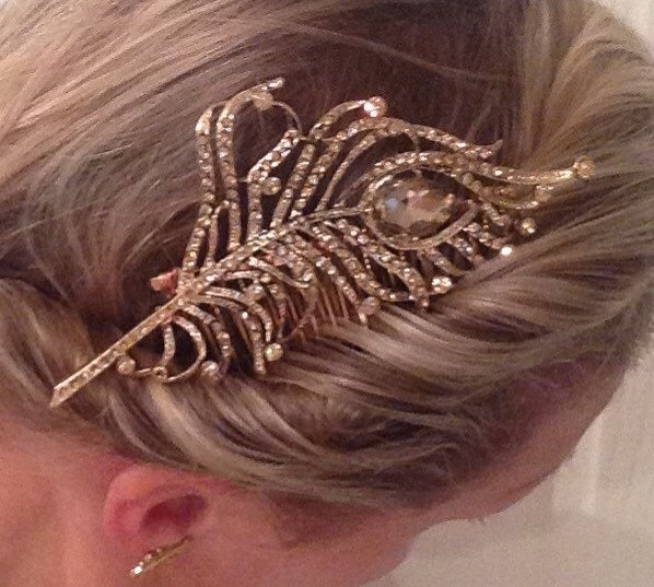 Large Beautiful Bridal Peacock hair slide gold tone with Austrian crystals