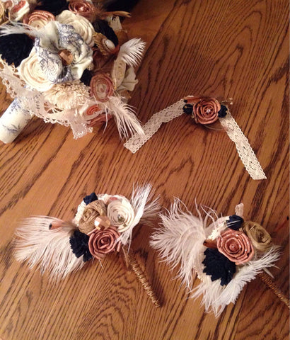 Steampunk copper and navy, cogs, maps, keys alternative keepsake bridal bouquet